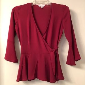 Candie's Wrap Top with Bell Sleeves - NWOT